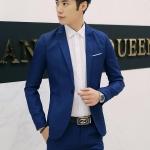 สูท,ชุดสูทชาย แฟชั่น ผ้าโพลีเอสเตอร์ กางเกงขากระบอกเล็ก สีน้ำเงิน 3XL *สูท+กางเกง*
