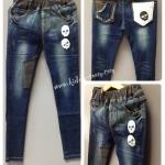 (เด็กโต) กางเกงยีนส์เกาหลี เอวยางยืด ขาเดฟ แต่งแบบสวยสไตล์ร๊อคๆ ผ้านิ่ม ยืดได้นิดๆใส่สบายค่ะ