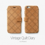 ZENUS : Leather Card Pocket Vintage Quilt Diary Case Cover for Apple iPhone 6 (4.7inch)