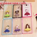 (406-008)เคสมือถือซัมซุง case samsung A7 เคสขอบนิ่มฝาหลังพลาสติกใสติดตุ๊กตา 2D ผู้หญิงน่ารักๆ