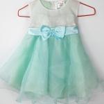 ชุดเดรสเด็กเล็กสีเขียวมิ้นสำหรับเด็ก6-24เดือน