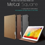 Hanton : Metal Square Synthetic Leather Stand Slim Cover Folding Folio Case for Samsung Galaxy Note 10.1 (2014 Edition)