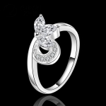 R901 แแหวนเพชรCZ ตัวเรือนเคลือบเงิน 925 หัวแหวนผีเสื้อ ขนาดแหวนเบอร์ 7