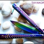 มีดควง บาลีซองเรนโบว์ไดมอนด์ Rainbow Diamond Balisong TKBS-D1