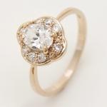 แหวนเคลือบทองคำ 14K หัวแหวนดอกไม้ White Sapphire, Oval Cut, Flower Style ขนาดแหวนเบอร์ 7.5
