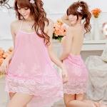 2in1 Sexy Dress ชุดนอนเซ็กซี่สีชมพูทรงย้วยชายลูกไม้หวานๆ+จีสตริง MM8270