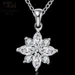 Flower Silver Necklace สร้อยคอชุบเงิน925 แต่งจี้ดอกไม้ประดับเพชร CZ สวยมากๆ