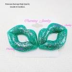 ต่างหู ตุ้มหู Glitter Lips สีเขียวมิ้นท์น่ารักมากมาย เกร๋ฝุดๆ เลยค่าคู่นี้ ขนาด 4cm x 5cm