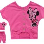 ชุดเซ็ท เสื้อสีชมพู ลายมินนี่เม้าส์ + กางเกง 4 ส่วนติดโบว์ใหญ่ๆ ดูสดใส น่ารักดีค่ะ size 95-140