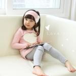 (Pre) ชุดเสื้อหัวใจ+กางเกง +ที่คาดผม สีชมพู (แบบบาง)