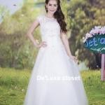 ขายชุดแต่งงานยาว ทรงA เจ้าสาวใส่แล้วดูผอมเพรียวมากค่ะ พร้อมส่ง Size S-L
