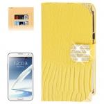 Lizard Texture Diamond Encrusted Button for Samsung Galaxy Note II / N7100 (Yellow)