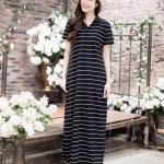 Classic Polo Stripe Maxi Dress สีดำริ้วขาว