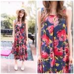 Maxi Loose Dress-ลายดอกไม้พื้นสีกรมท่า