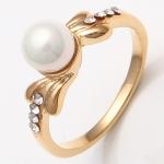 แหวนเคลือบทองคำ 14K หัวแหวนแต่งมุก ขนาดแหวนเบอร์ 7.5