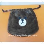 ถุงผ้าหูรูดไลน์ Line ลาย Brown ขนาด 7x8 นิ้ว (ซื้อ 12 ชิ้น ราคาส่ง 100 บาท/ชิ้น) คละลายได้