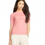 Lauren Petite Stretch Cotton Boatneck Tee (Rose)