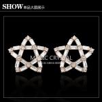 Star Magic Crystal Earing Celeb Issues ต่างหูรูปดาวแต่งคริสตัล เก๋ไก๋สไตล์เซเลบ