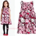 (เด็กโต) H&M (ชน shop) ชุดกระโปรงสีชมพู ลายคิตตี้ Kitty ทั้งตัว แต่งระบายช่วงอกนิดๆ น่ารักสุดๆ ค่ะ size