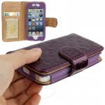 Case เคส Luxury Series Flower Pattern Genuine Leather Case for iPhone 5 (Purple)