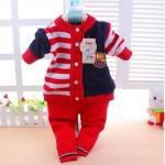 เสื้อ+กางเกง สีแดง ไหมพรม ไซส์ M.L.XL สำหรับอายุ 1- 3 ปี