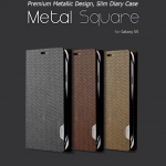 Hanton : Metal Square Diary Battery Cover Synthetic Leather Case for Samsung Galaxy S5, SV, G900
