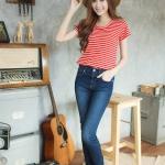 Summer Stripe Tee สีแดงริ้วขาว