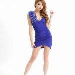 2in1 Blue Sexy Party Dress ชุดเดรสสีน้ำเงินจับจีบย่นแต่งดอกไม้ที่ไหล่ พร้อมจีสตริง