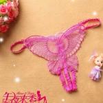 Butterfly Sexy G-string กางเกงในเปิดเป้า จีสตริงเปิดเป้าลายผีเสื้อสีชมพู สุดเซ็กซี่