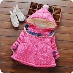 เสื้อกันหนาวสีชมพูลายจุด สำหรับอายุ 1-4 ปี น่ารักมากค่ะ