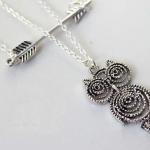 FOREVER21 2 Layer Silver Owl Arrow Necklace สร้อยคอสีเงิน 2 ชั้นแต่งจี้รูปธนูและนกฮูก