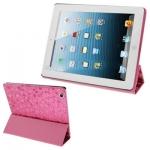 case เคส Gravel Pattern 3-folding iPad 4 (Magenta)