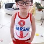 ชุดเด็กลายสมอ แขนกุด สีขาวแดง สไตล์เกาหลี