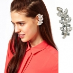 Olive Leaf Crystal Left Ear Cuff ต่างหูแบบเจาะรูปใบมะกอกแต่งคริสตัลใส ใส่หูซ้าย