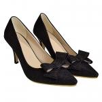 พร้อมส่ง Size 36 รองเท้าคัชชู Gritter สีดำ หัวแหลมแต่งโบว์ ส้นสูง 1.5 นิ้ว