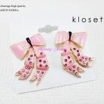 ต่างหู ตุ้มหู Kloset Bow earring สีชมพูฝังคริสตัลสวยวิ้ง งานเป๊ะมากค่ะน่ารักฝุดๆ เลยค่ะ ขนาด 2cm x 3cm