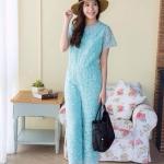 Elegant Lace Jumpsuit ฟ้ามิ้นท์