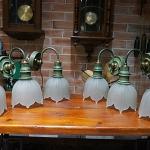 โคมไฟทองเหลืองรมเขียวงานเก่า รหัส41258hl