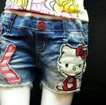 (เล็ก) งานป้ายเกาหลี กางเกงยีนส์ขาสั้น ปะแปะ Kitty ยีนส์เนื้อนิ่ม ผ้าเนื้อดีมาก size 7