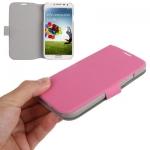 Case เคส ซองหนังเนื้อบาง สีชมพู Samsung GALAXY S4 IV (i9500)