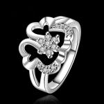 R881 แหวนเพชรCZ ตัวเรือนเคลือบเงิน 925 หัวแหวนรูปดอกไม้แต่งเพชร ขนาดแหวนเบอร์ 8