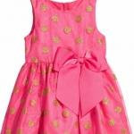 HM (ชนช๊อป) Jersey Dress-Pink ชุดกระโปรงแขนกุดสีชมพู ลายจุดสีทอง หรูดูดี ติดโบว์ใหญ่ๆ ใส่ไปงานได้เลยค่ะ size 6-8