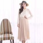 Sweetest Pleated Skirt สีครีม (สินค้าลดราคา)
