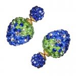 Blue Strawberry Crystal Stud Earing ต่างหูรูปสตอเบอรี่สีน้ำเงินแต่งคริสตัล สุดหรู