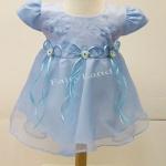 ชุดกระโปรงเด็กเล็กสีฟ้าแขนตุ๊กตา BL518