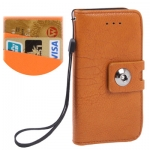 Case เคส Litchi Texture Button Flip Holster for iPhone 5 (Orange)