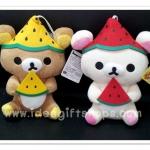 ตุ๊กตาน้องหมี Rilakkuma และ Korilakkuma ถือแตงโม ขนาด 7 นิ้ว (ราคาต่อคู่ค่ะ)