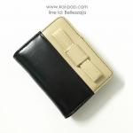 กระเป๋าสตางค์ใบสั้น ลายโบว์น่ารัก สีดำ-ครีม (สินค้าลดราคา ตรงซิปมีรอยถลอกนิดหน่อยค่ะ)