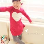 (Pre) ชุดเสื้อหัวใจ+กางเกง +ที่คาดผม สีแดง (แบบบาง)