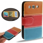 Case เคส Three Colors Valentinus Left and Right Open Samsung Galaxy S 3 III (Brown+Red+Blue)